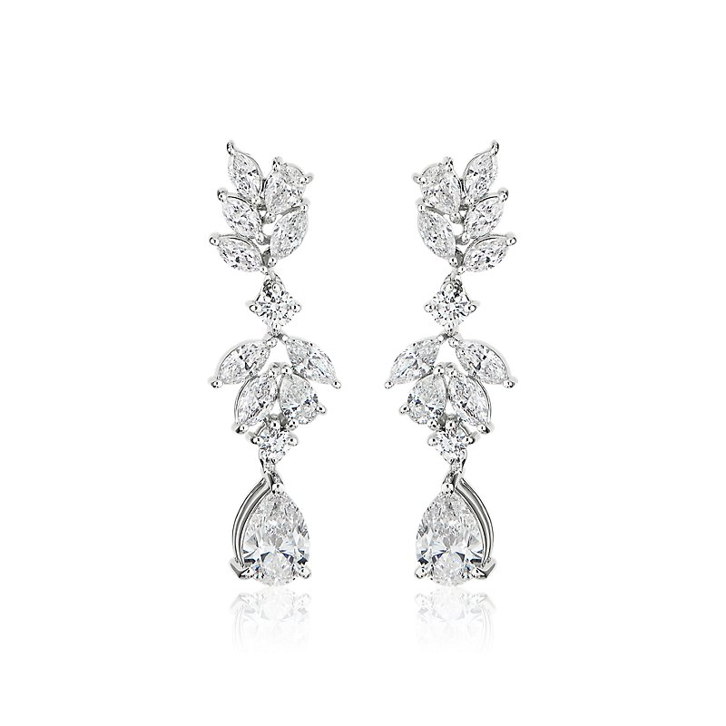 Marquise and Pear Shape Diamond Leaf Drop Earrings in 18k White G