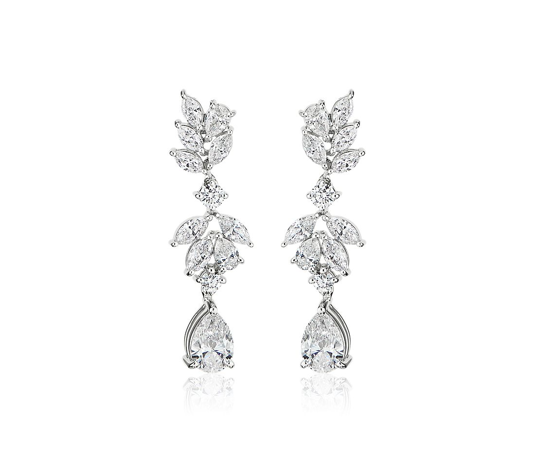 Marquise and Pear Shape Diamond Leaf Drop Earrings in 18k White Gold (1.78 ct. tw.)