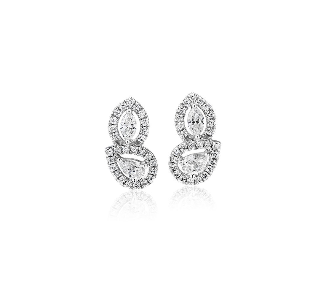 51d9ed7c3 Marquise and Pear Shape Diamond with Halo Stud Earrings in 14k White Gold  (7/8 ct. tw.) | Blue Nile