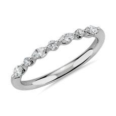 NOUVEAU Bague d'anniversaire avec diamants flottants tailles ronde et marquise en or blanc 14carats - I/SI2 (0,22carat, poids total)