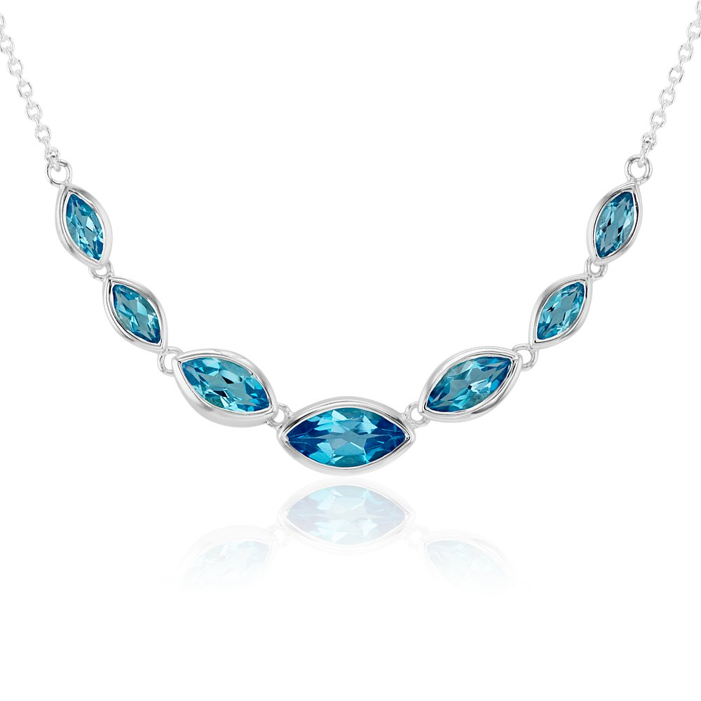 Marquise Blue Topaz Necklace in Sterling Silver