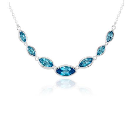 925 纯银榄尖形蓝色托帕石项链