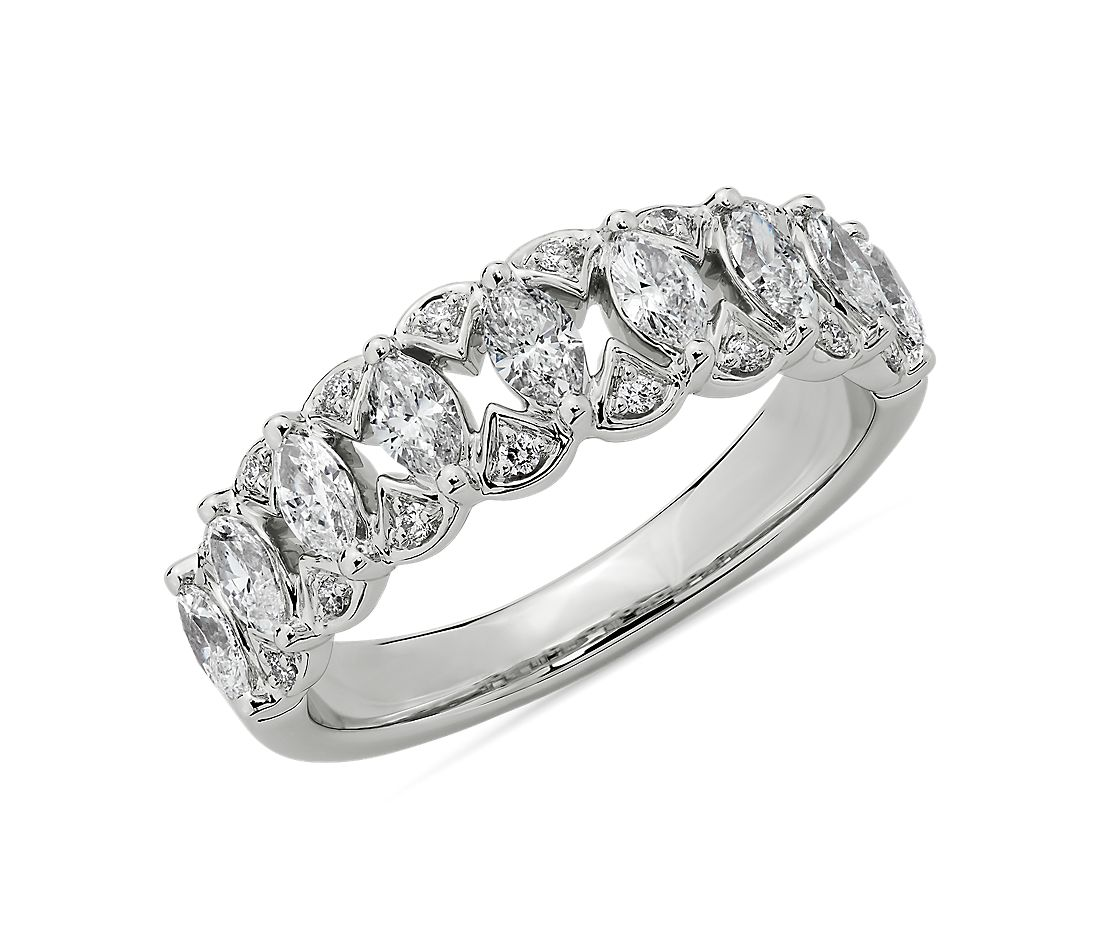 Marquise-Cut Diamond Fashion Ring in 14k White Gold (3/4 ct. tw.)