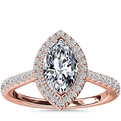 NUEVO. Anillo de compromiso de diamante de talla marquesa con halo y detalle de puente de diamantes, en oro rosado de 14k (1/3 qt. total)
