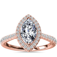 Marquise Diamond Bridge Halo Diamond Engagement Ring in 14k Rose Gold (1/3 ct. tw.)