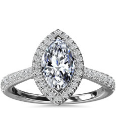Marquise Diamond Bridge Halo Diamond Engagement Ring in 14k White Gold (1/3 ct. tw.)
