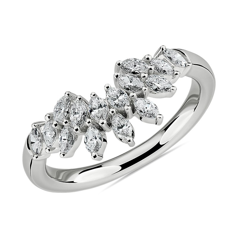 Marquise Diamond Crown Wedding Ring in 14k White Gold (5/8 ct. tw