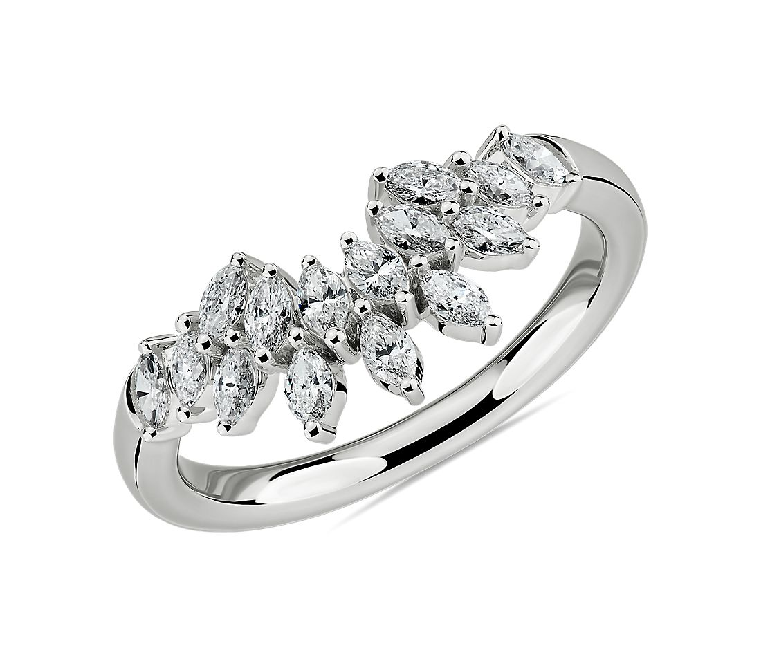 Marquise Diamond Crown Wedding Ring in 14k White Gold (5/8 ct. tw.)