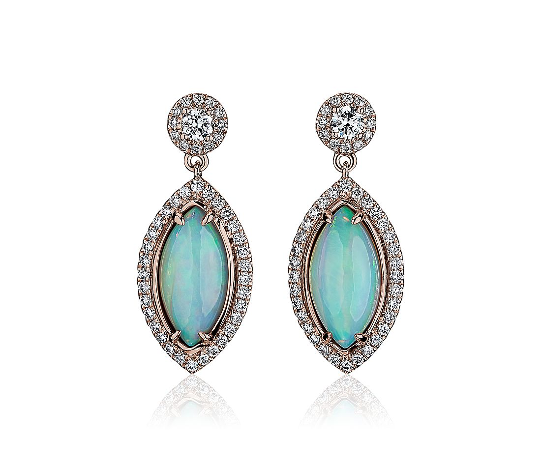 Marquise Opal Drop Earrings with Diamond Halo 18k Rose Gold