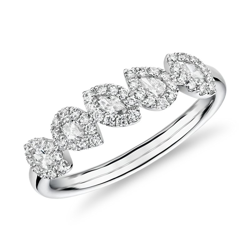 Marquise and Pear Halo Diamond Ring in 14k White Gold (3/8 ct. tw