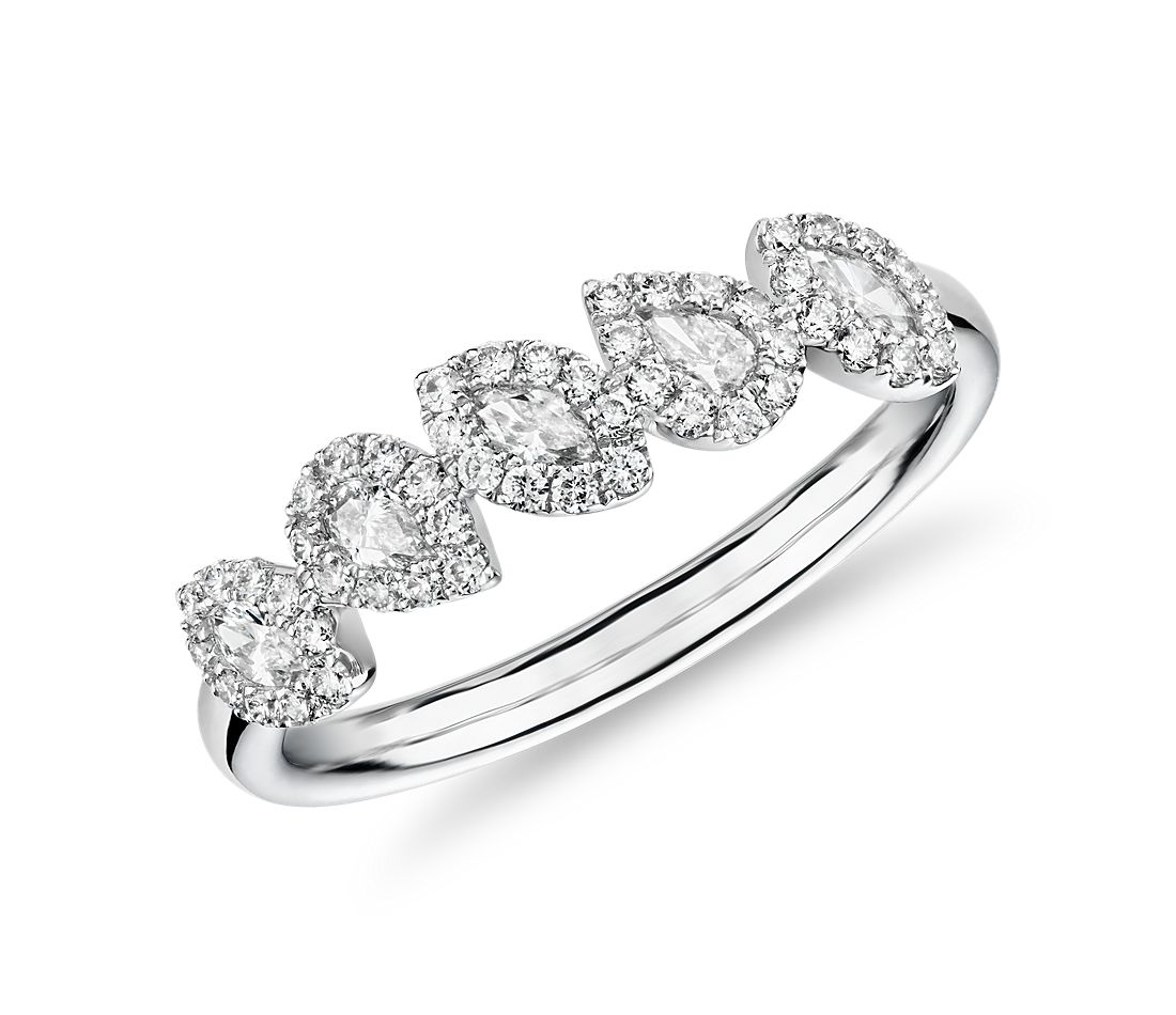 Marquise and Pear Halo Diamond Ring in 14k White Gold (3/8 ct. tw.)