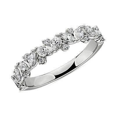 14k 白金榄尖形和圆形钻石结婚戒指(1/2 克拉总重量)