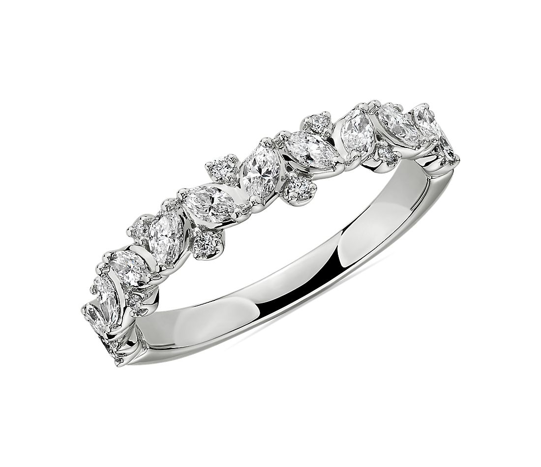 Marquise & Round Cluster Diamond Wedding Ring in 14k White Gold (1/2 ct. tw.)