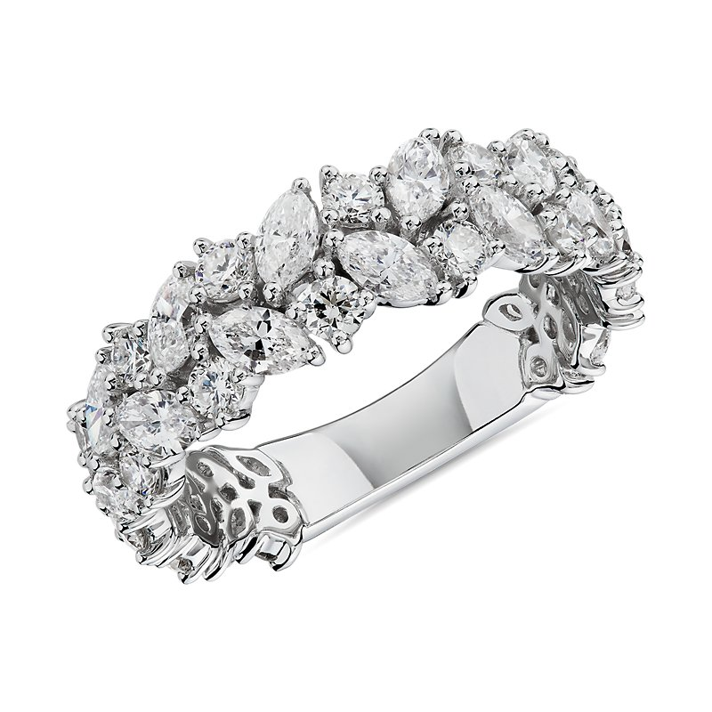 Marquise & Round Diamond Cluster Wedding Ring in 14k White Gold (