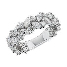 Marquise & Round Diamond Cluster Wedding Ring in 14k White Gold (2 ct. tw.)