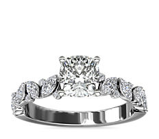 NEW Marquise and Round Floral Diamond Engagement Ring in 14k White Gold (1/2 ct. tw.)
