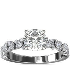 Marquise and Round Floral Diamond Engagement Ring in 14k White Gold (1/2 ct. tw.)