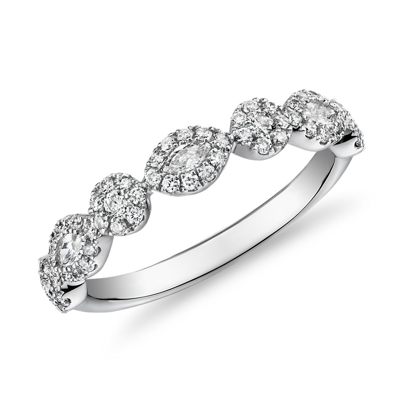 Marquise and Round Halo Diamond Ring in 14k White Gold (3/8 ct. t
