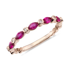 Bague diamant et rubis taille marquise en or rose 14carats (4x2mm)