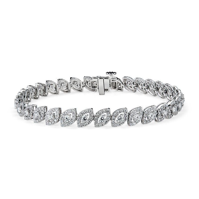 Marquise Shape Diamond Halo Bracelet in 14k White Gold (3 1/2 ct.