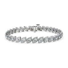 NEW Marquise Shape Bracelet en diamant halo in or blanc 14 carats (3 1/2 carats, poids total)