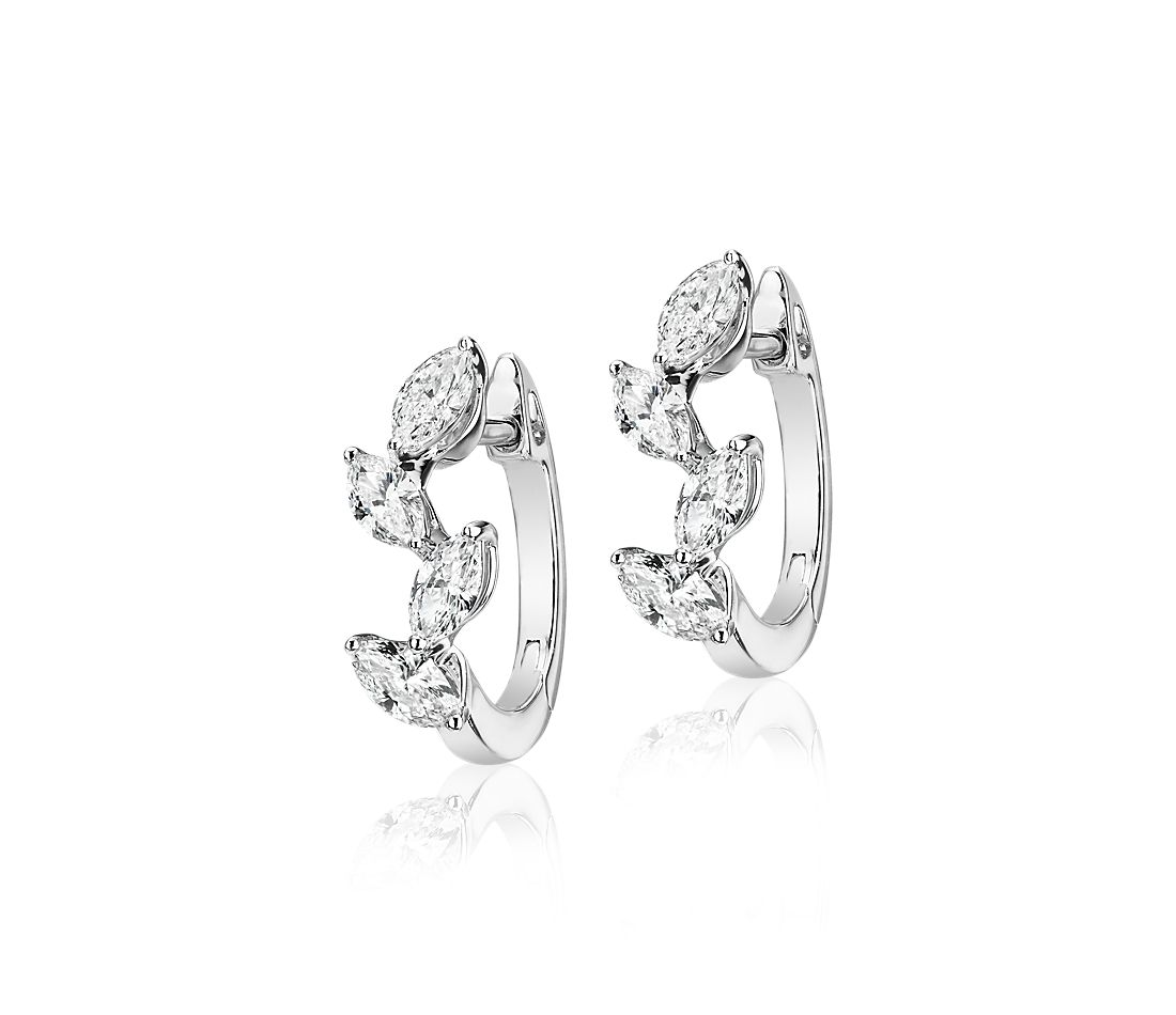 Marquise-cut Diamond Hoop Earrings in 14k White Gold (1 1