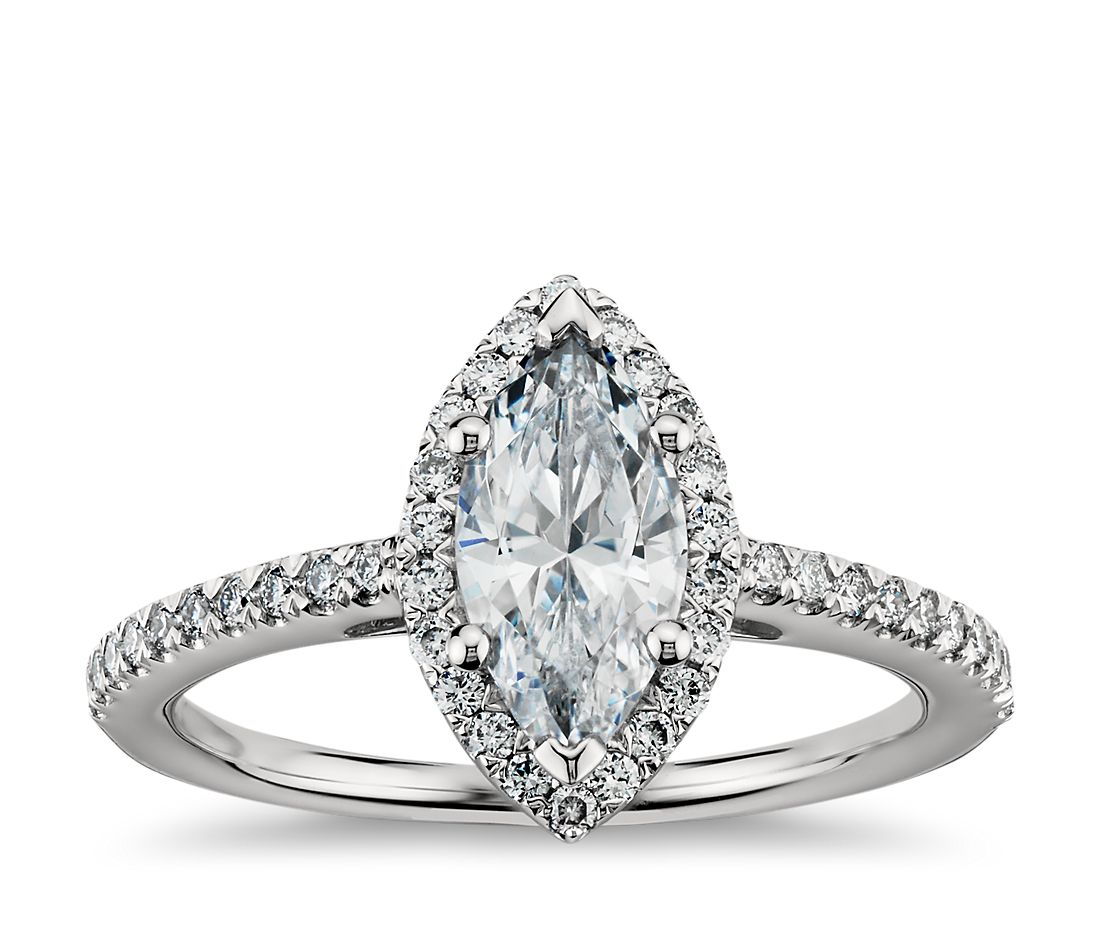 marquise cut halo diamond engagement ring in platinum - Marquise Wedding Ring