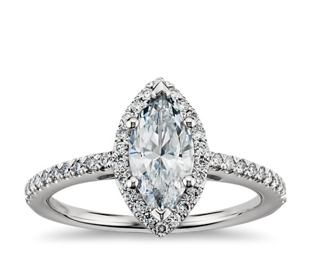 Marquise Cut Halo Diamond Engagement Ring In Platinum