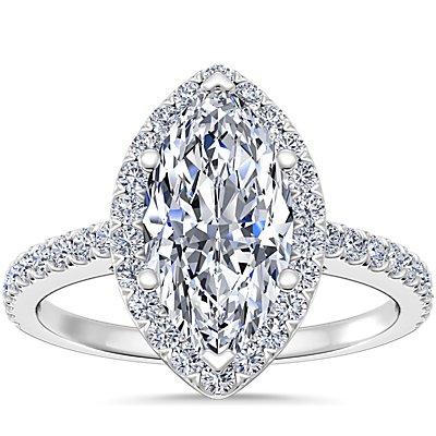 14k 白金欖尖形切割光環鑽石訂婚戒指