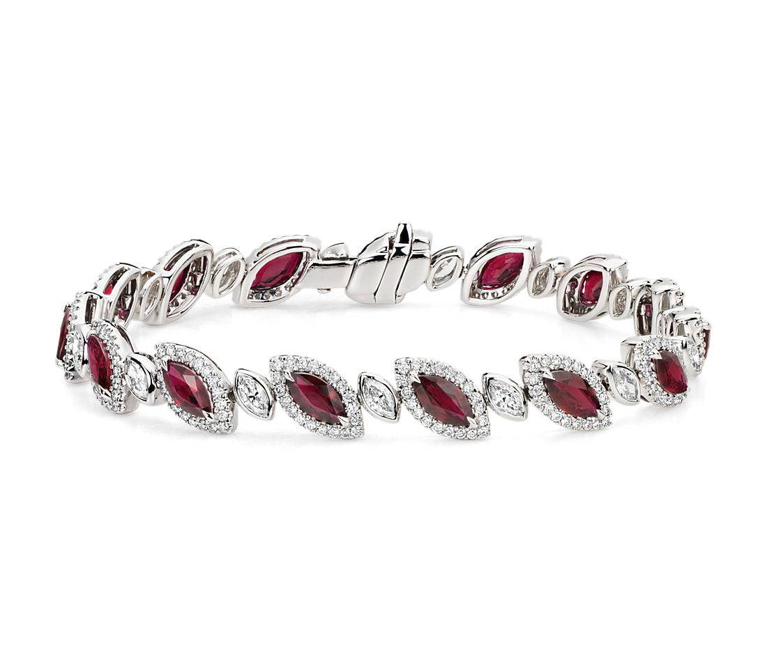 Marquise-Shaped Ruby and Diamond Bracelet in 18k White Gold (6.19 cts)