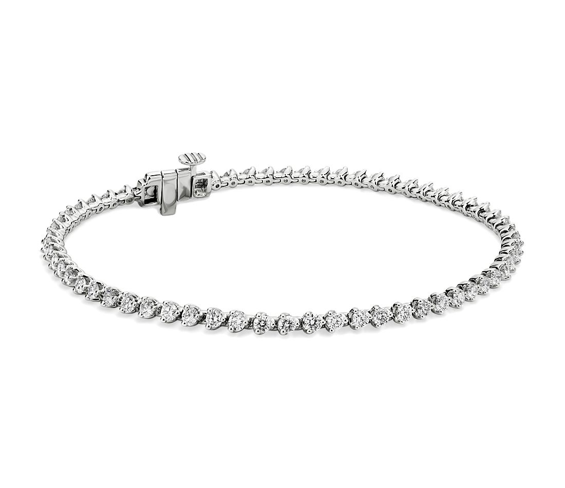 Bracelet tennis en diamants sertis Martini en or blanc 14 carats (2 carats, poids total)