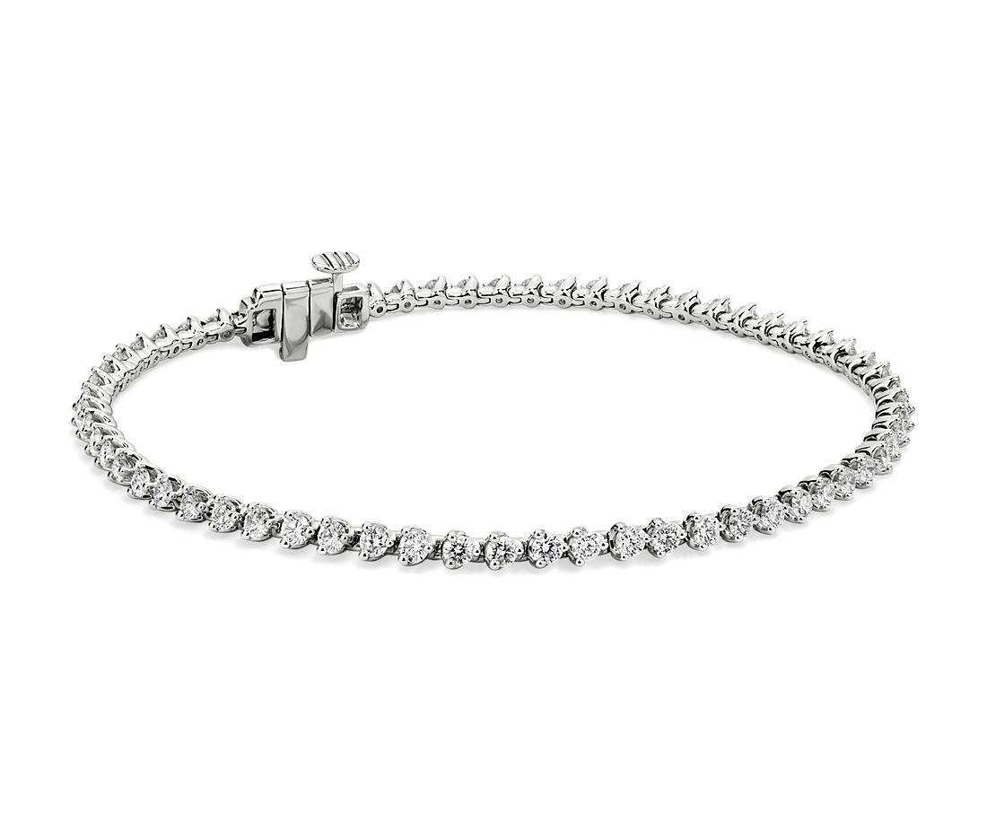 14k 白金馬丁尼風格鑲嵌法鑽石網球手鍊(2 克拉總重量)