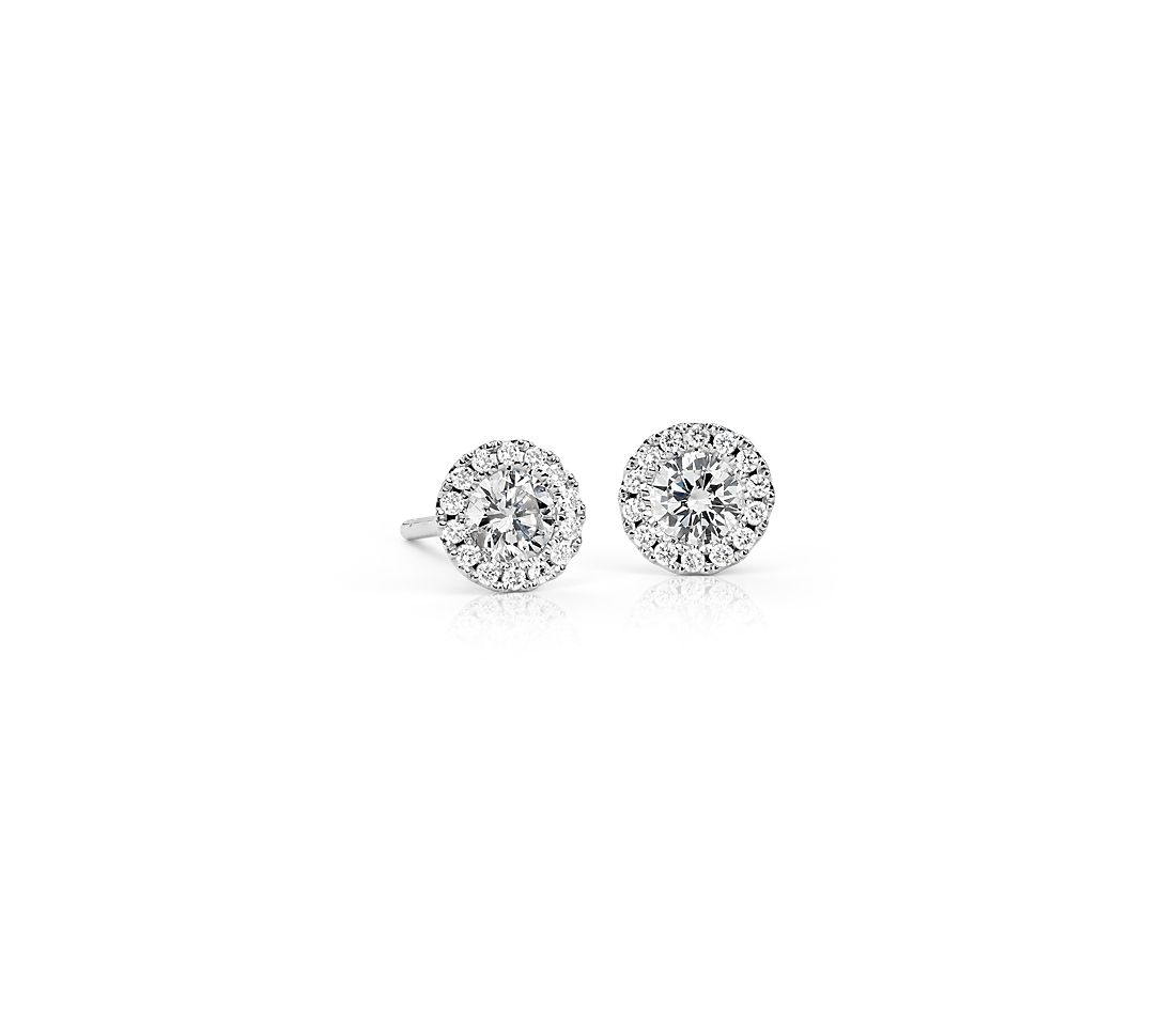 Boucles d'oreilles halo de diamants Martini en or blanc 14 carats