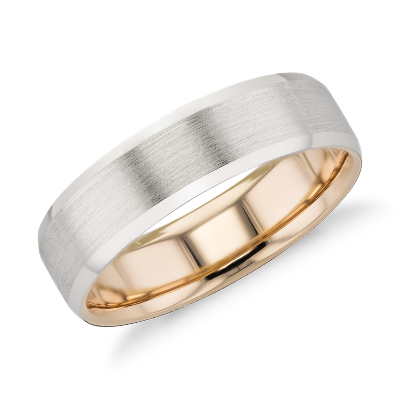 Matte Beveled Edge Wedding Ring in Platinum and 18k Rose Gold 6mm