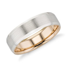 Matte Beveled Edge Wedding Ring in Platinum and 18k Rose Gold (6mm)