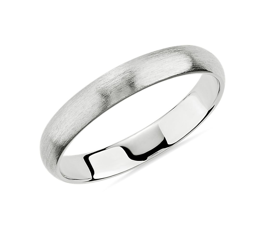Matte Classic Wedding Ring in 14k White Gold (3mm)