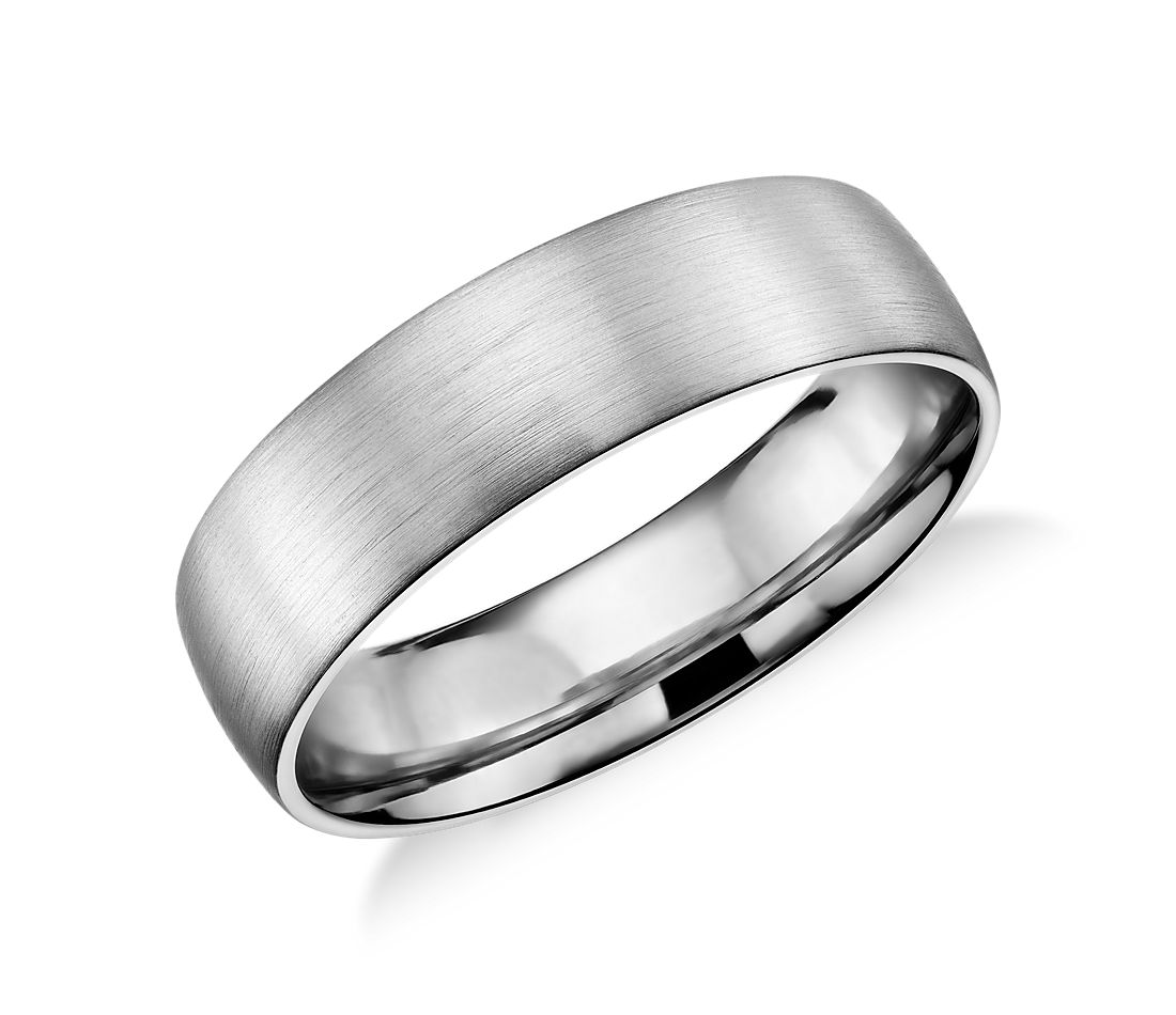 Matte Classic Wedding Ring in 14k White Gold (6mm)