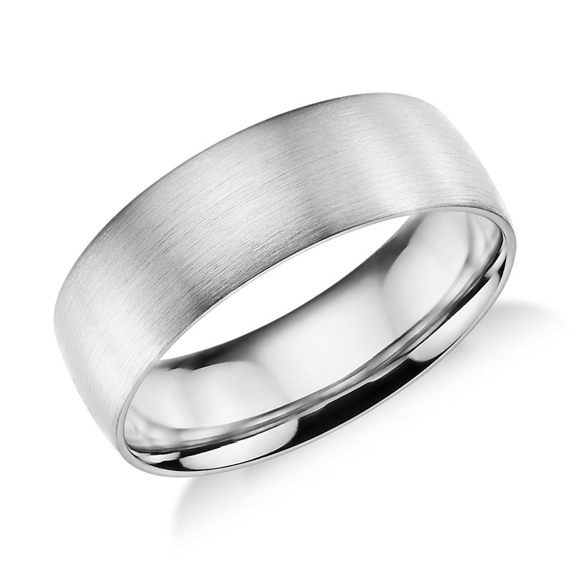 Matte Classic Wedding Ring in 14k White Gold (7mm)