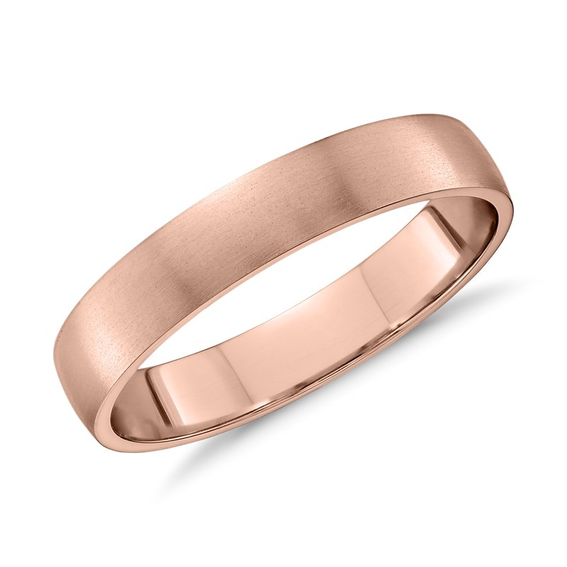 Matte Classic Wedding Ring in 14k Rose Gold (4mm)