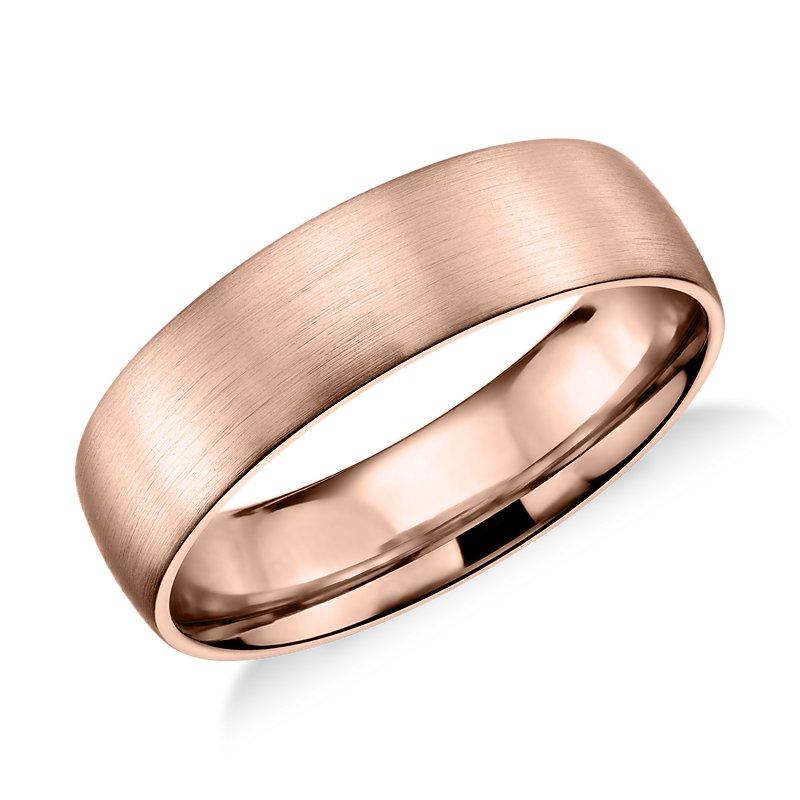 Matte Classic Wedding Ring in 14k Rose Gold (6mm)