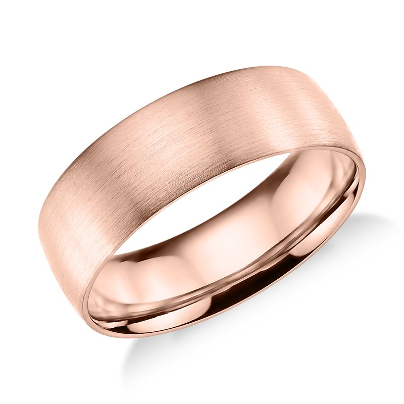 Matte Classic Wedding Ring in 14k Rose Gold (7mm)