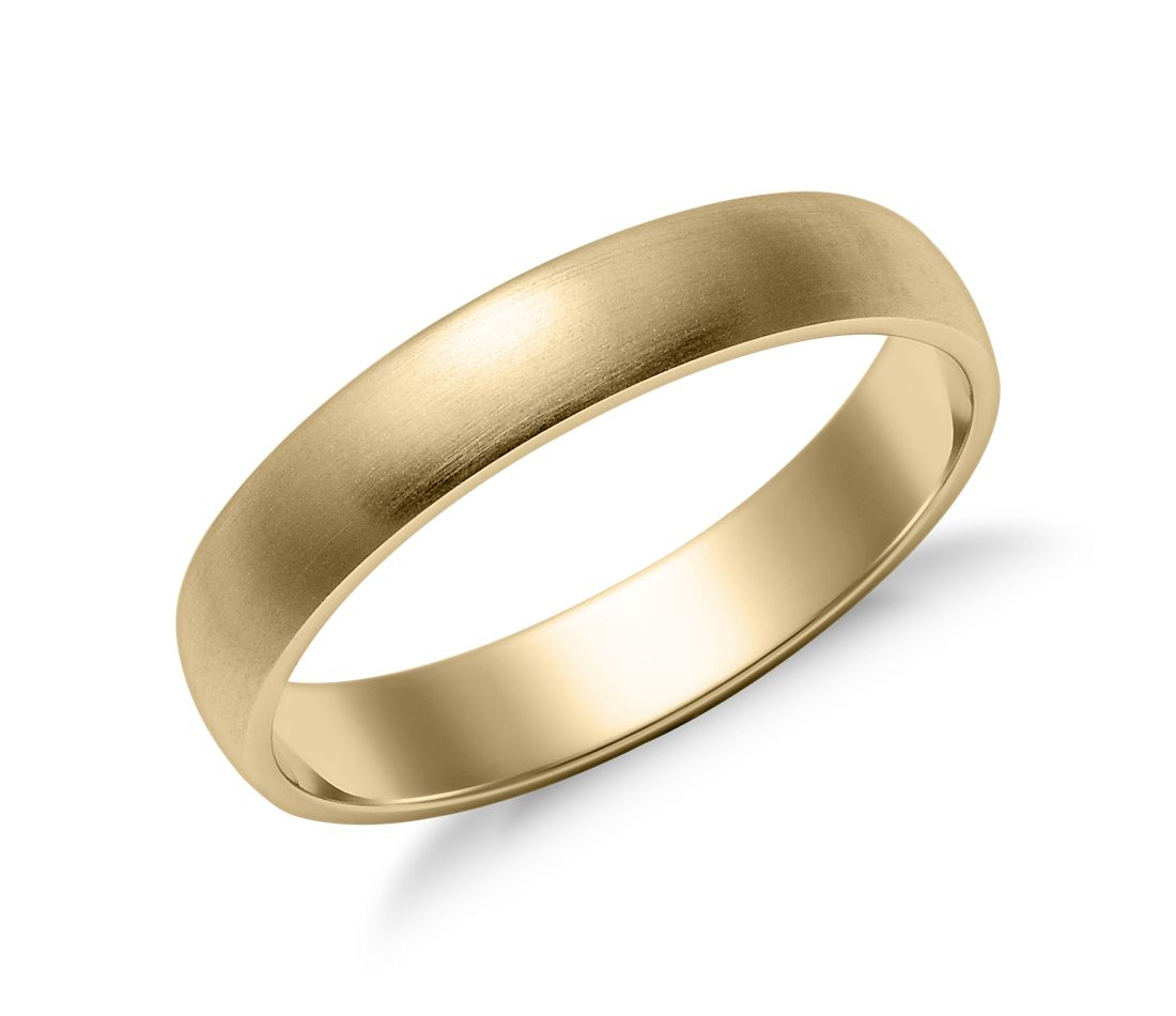 Matte Classic Wedding Ring in 14k Yellow Gold (4mm)