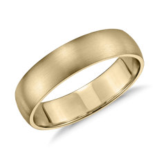 Matte Classic Wedding Ring in 14k Yellow Gold (5mm)