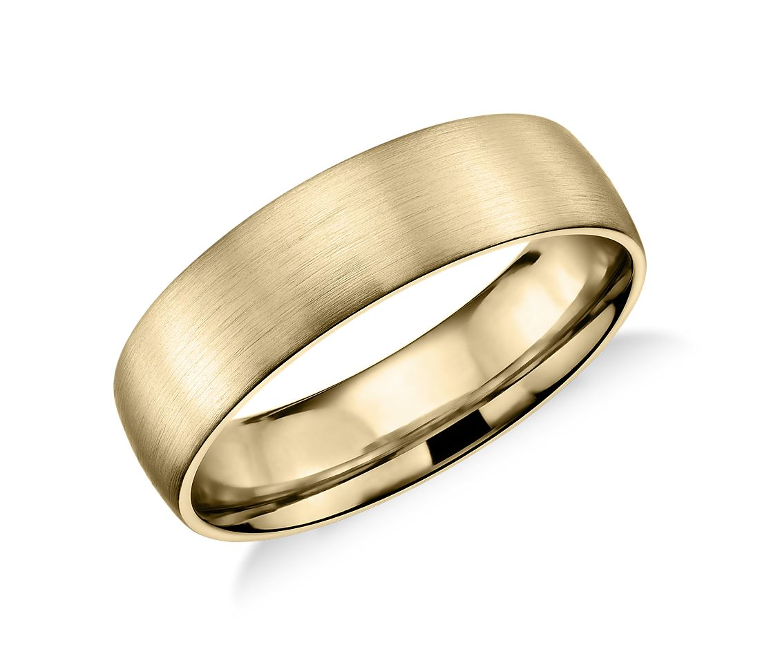 Matte Classic Wedding Ring in 14k Yellow Gold (6mm)