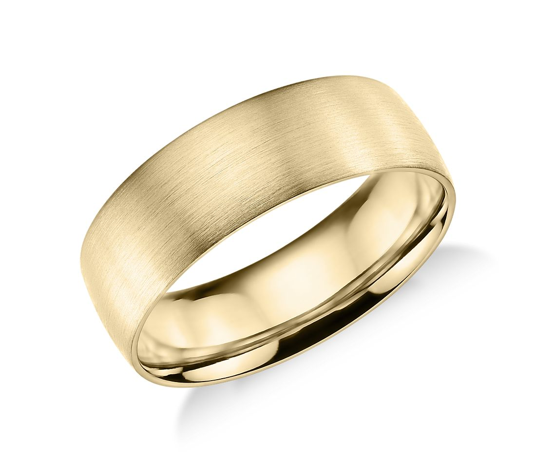 Matte Classic Wedding Ring in 14k Yellow Gold (7mm)