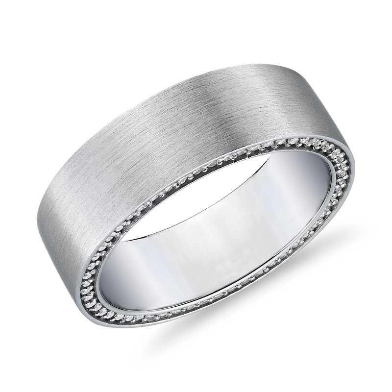 Matte Diamond Profile Wedding Band in 14k White Gold (3/4 ct. tw.