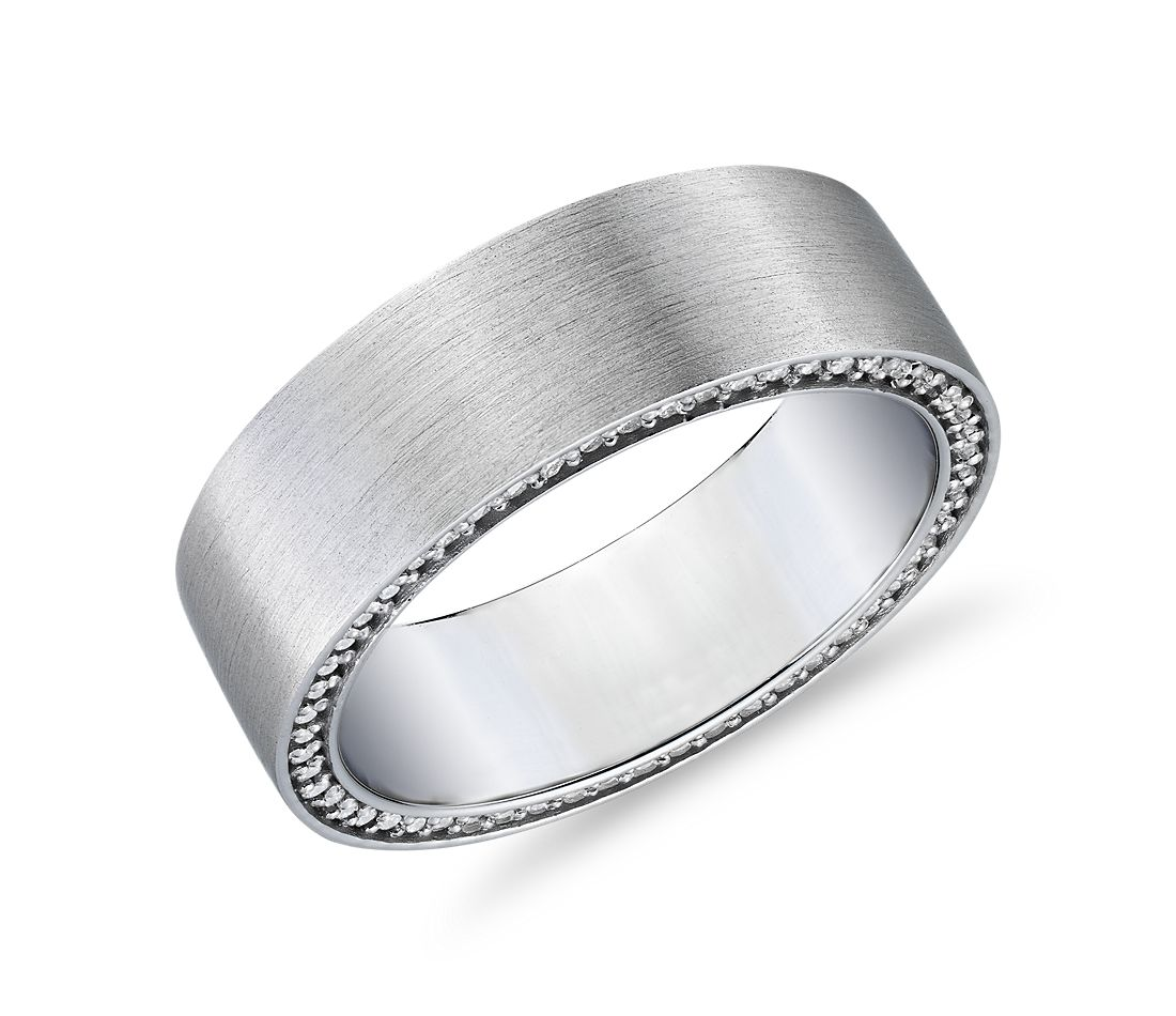Matte Diamond Profile Wedding Band in 14k White Gold (3/4 ct. tw.)