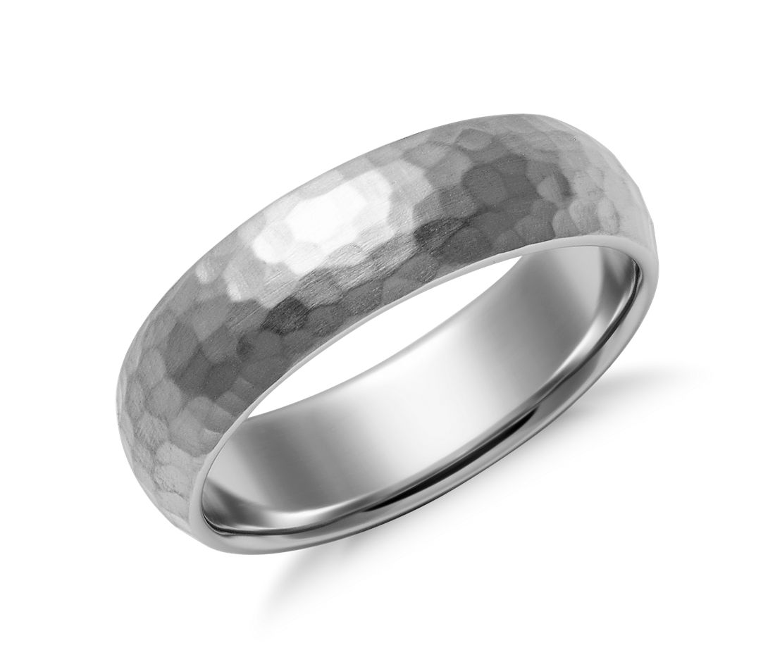 Matte hammered comfort fit wedding ring in palladium 6mm for Palladium wedding ring