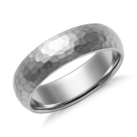 Matte Hammered Comfort Fit Wedding Ring in Palladium (6mm)