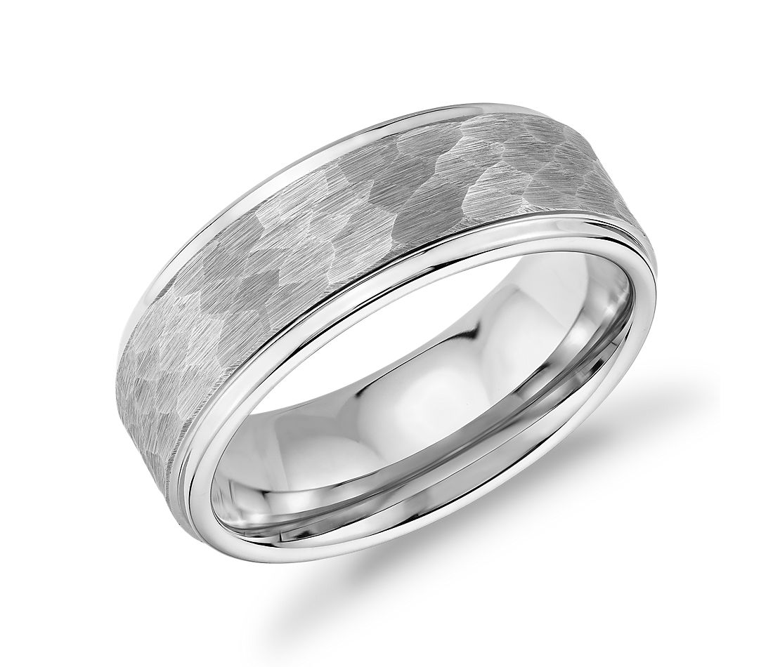 Matte Hammered Comfort Fit Wedding Band in White Tungsten Carbide (8mm)